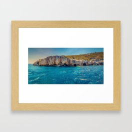 Blue Caves, Zakynthos, Greece Framed Art Print