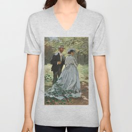 Claude Monet - Bazille and Camille Unisex V-Neck