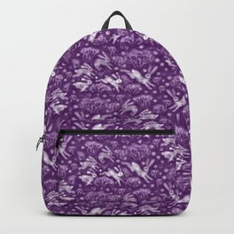 Hares in Snow Field, Winter Animals, Purple Violet White Backpack