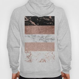 Modern chic color block rose gold marble stripes pattern Hoody