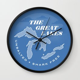 The Great Lakes - Unsalted & Shark Free (Inverse) Wall Clock