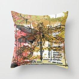 Dragon Fly Gold Throw Pillow