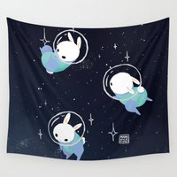 bunnies Wall Tapestries featuring Space Bunnies by Maike Vierkant