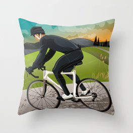 Road Cyclist Throw Pillow