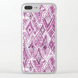 SPIRITUAL FRIGGIN DIAMONDS Purple Ikat Clear iPhone Case