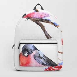 Watercolor bullfinch on a branch Backpack