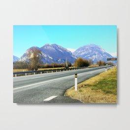 Street to mountains Metal Print