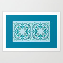 Support Love Mandala x 2 - Aqua/Blue Art Print