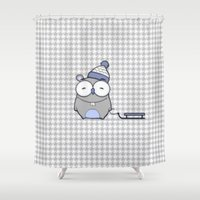 hamster Shower Curtains featuring Hamster in the snow by Mr and Mrs Quirynen
