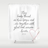 scripture Shower Curtains featuring Scripture by Meredith Washburn