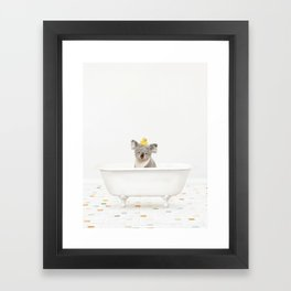 Koala with Rubber Ducky in Vintage Bathtub Framed Art Print