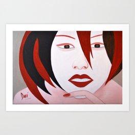 Chatting girl Art Print
