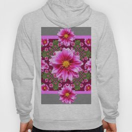 Abstracted  Fuchsia Dahlias Geometric Stylized Floral Grey Garden Hoody