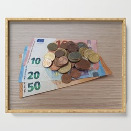 Euro Coins and Bills Serving Tray