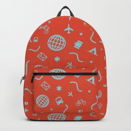 Cityicons Postmodern Travel Print - Airline Orange/Blue Backpack