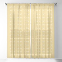Minimal Butterfly Pattern - Yellow Sheer Curtain
