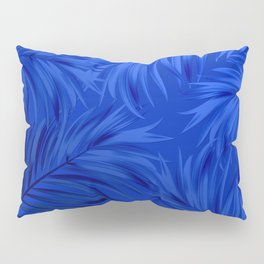 Palm Tree Fronds Brilliant Blue on Blue Hawaii Tropical Décor Pillow Sham