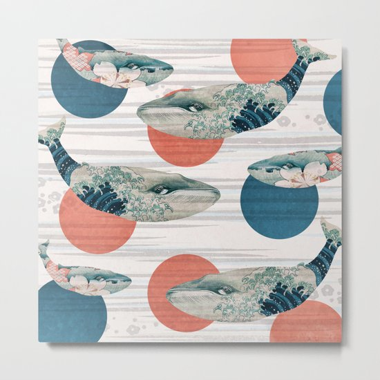 Whales and Polka Dots Metal Print
