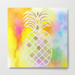Watercolor and Gold Pineapple Metal Print