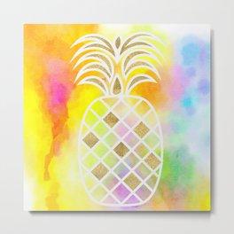 Watercolor and Gold Pineapple Metal Print