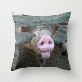 Naughty Pig | Freches Schwein Throw Pillow