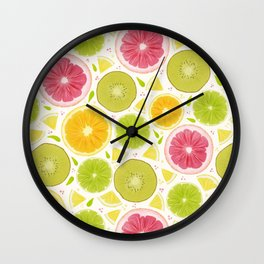 Summer Lemonade // Citrus Illustration // Spring Bright Colorful Fruits Wall Clock