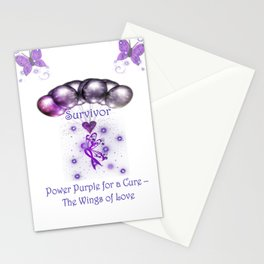 Power Purple For a Cure - The Wings Of Love - Survivor Stationery Cards