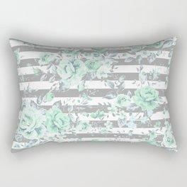 MINT FLORAL GRAY STRIPES SPRING Rectangular Pillow