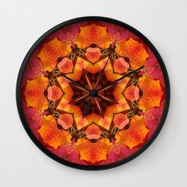 Glowing autumn Juneberry leaves kaleidoscope mandala Wall Clock