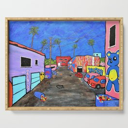 Los Angeles Alley by Mike Kraus- LA art street graffiti socal california houses homes colorful decor Serving Tray