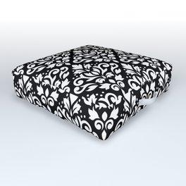 Scroll Damask Big Pattern White on Black Outdoor Floor Cushion