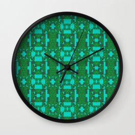 Aqua and Moss Green Geometric Healing Pattern Wall Clock