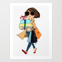 shopping Art Prints featuring shopping by penpun