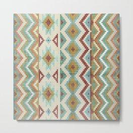 Geometric Art, Aztec Print, Green, Teal, Red, Gold, Boho Art  Metal Print