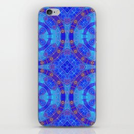 Glowing Blue Purple African Mandala iPhone Skin