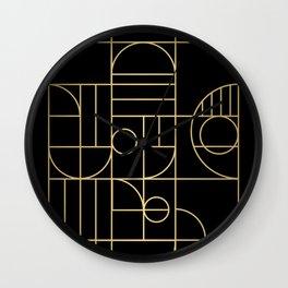 Minimalist Mid Century Modern Black & Gold Pattern Wall Clock
