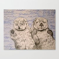 otters Canvas Prints featuring Otters by Caesarie
