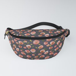 Poppies Hand-Painted Watercolors in Rose Pink on Charcoal Grey Fanny Pack