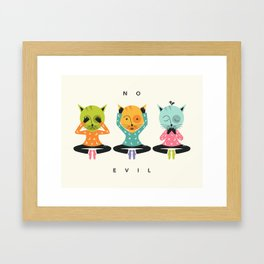 THREE WISE CATS (NO EVIL) Framed Art Print