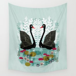 Swans by Andrea Lauren Wall Tapestry