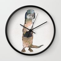 otter Wall Clocks featuring Otter by David Fleck
