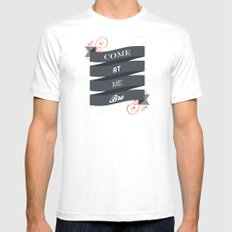 Come At Me Bro! MEDIUM White Mens Fitted Tee