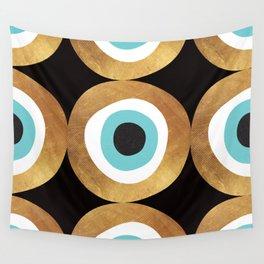 Gold Evil Eye 70s Bohemian Lucky Charm Nazar  Wall Tapestry