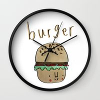 burger Wall Clocks featuring Burger by Tuesday Alissia