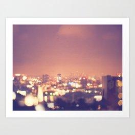Everyone's a Star. Los Angeles skyline at night photograph. Art Print