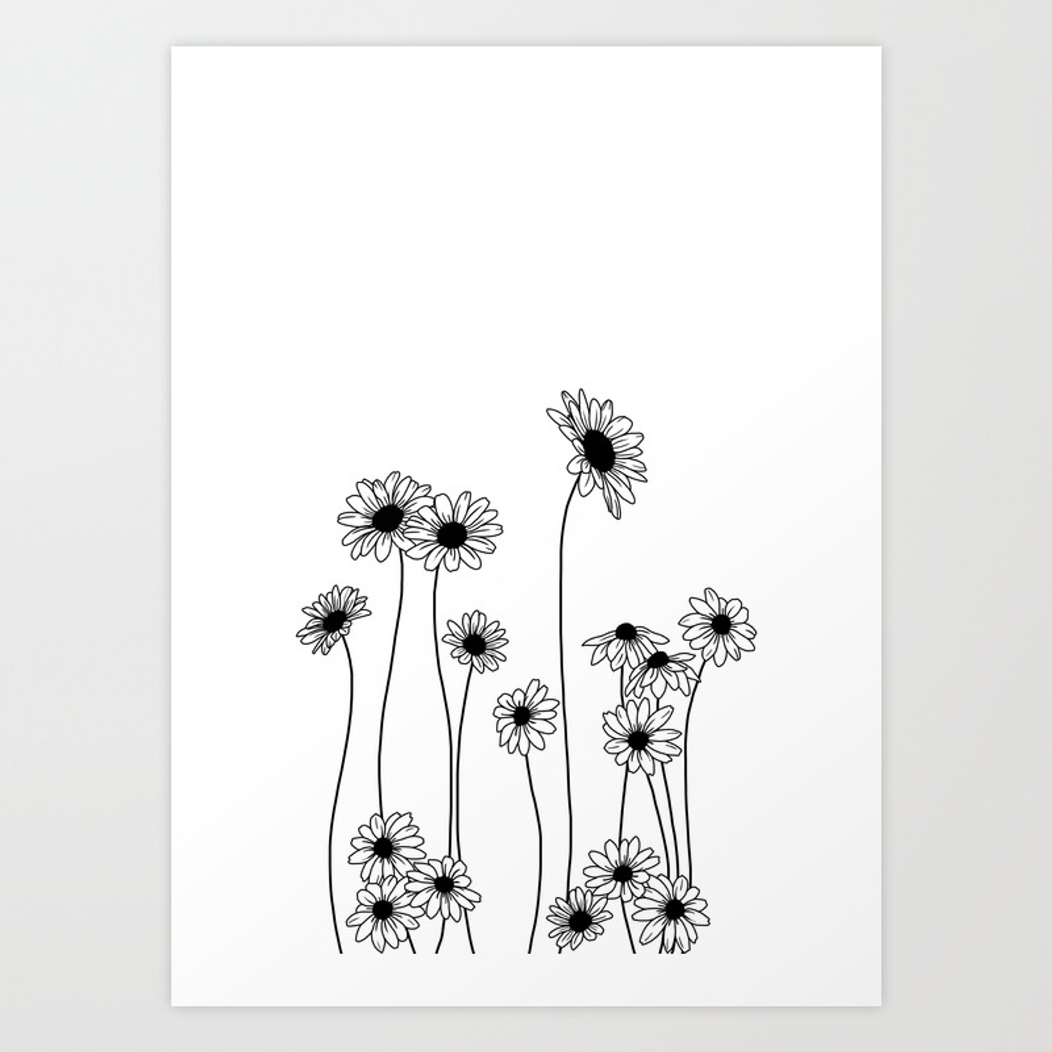 Minimal Line Drawing Of Daisy Flowers Art Print By Thecolourstudy Society6