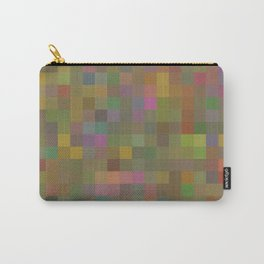 geometric square pixel pattern abstract in green pink yellow Carry-All Pouch