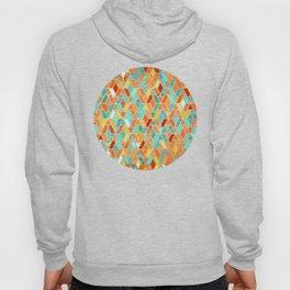 Tangerine & Turquoise Geometric Tile Pattern Hoody