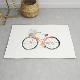 Coral Spring bicycle with flowers Rug