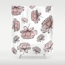 Hand Drawn Peonies Dusty Rose Shower Curtain